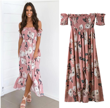 1fa48ba6b1 Fashion lady women maxi dress cheap pink printed floral smart maxi Casual  Dresses