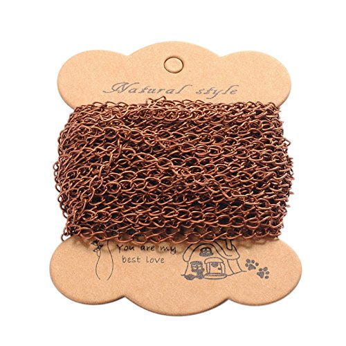 Pandahall 10m(32.80 feet) Red Copper Color Iron Twist Chains for Necklace Jewelry Accessories DIY Making-3.5x5.5x0.5mm
