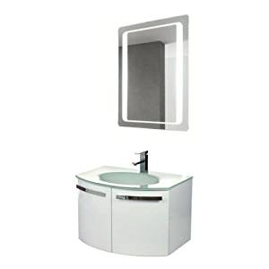 """Nameeks CD14 ACF 27-3/5"""" Wall Mounted Vanity Set with Wood Cabinet, Glass Top wi, Glossy White"""