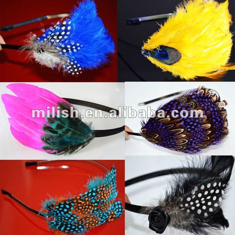 Venda del pelo de la pluma/pluma head band headwear/adornos de Plumas FHE