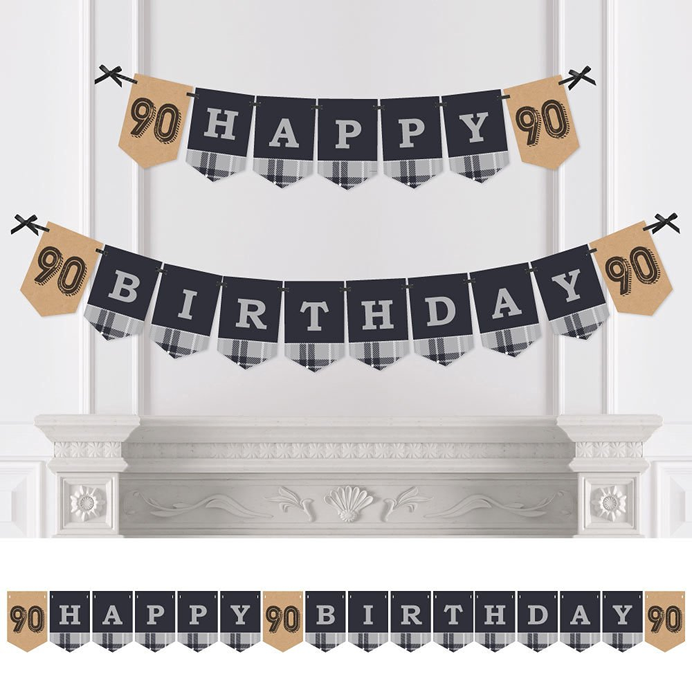 90th Milestone Birthday - Dashingly Aged to Perfection - Birthday Party Bunting Banner - Vintage Party Decorations - Happy Birthday