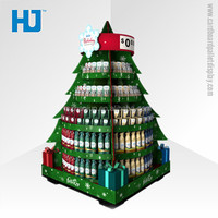 Rounded Cardboard Christmas Tree Display, POP Cardboard Shelf Display For Sales Promotion