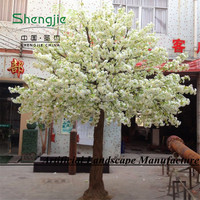 Guangzhou wedding decoration white artificial silk cherry blossom bonsai tree