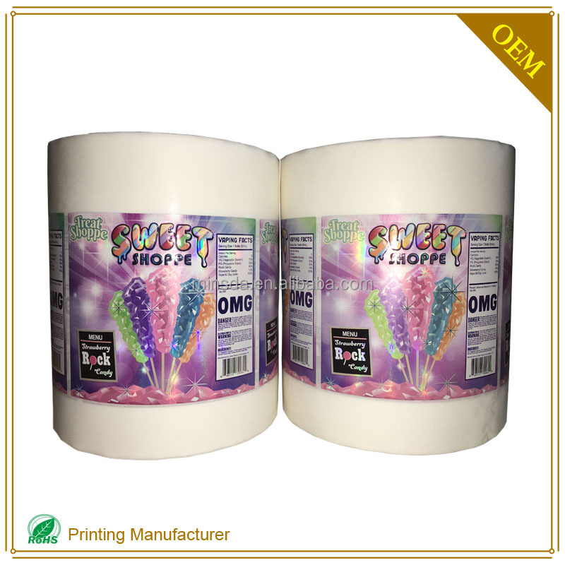 E-Liquid Product Labels Water Soluble Adhesive For Jar And Label Factory