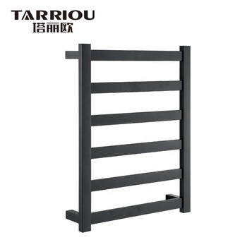 TARRIOU Stainless Steel Electric Heated Towel Rack Black For Bathroom