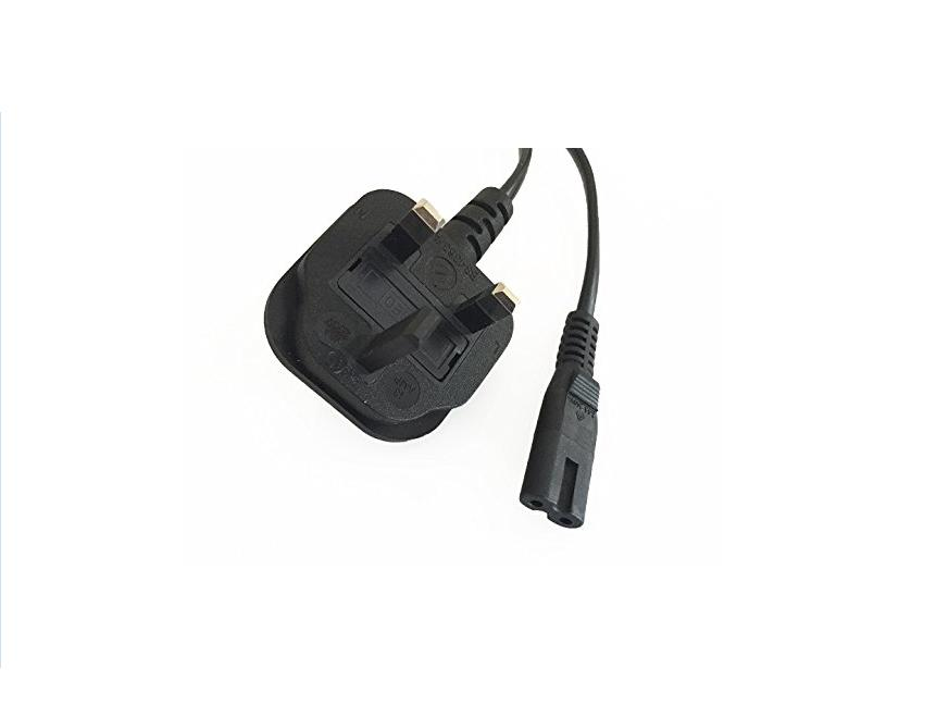 1.2M Figure 8 C7 Power Cable with moulded 3pin UK Plug