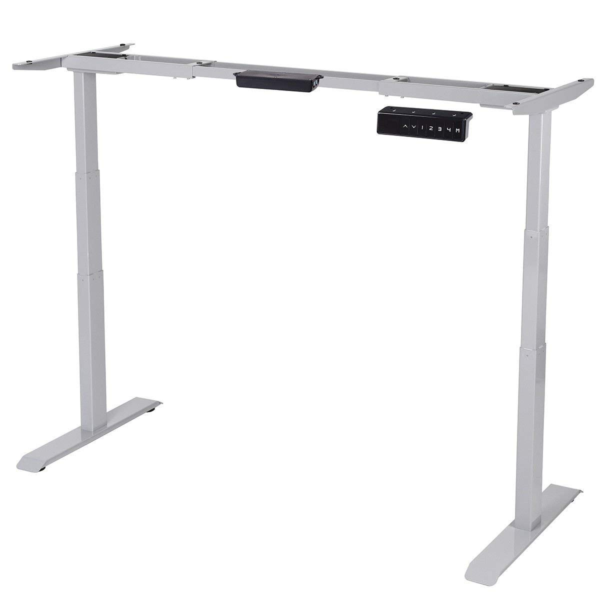 Tangkula Electric Standing Desk Frame Home Office Adjustable Height & Width Standing Desk Frame Ergonomic Dual Motor Motorized Sit to Stand Desk with Memory Preset Handset Controller (001, Gray)