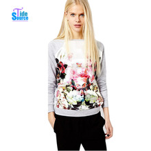 New 2014 Fall Autumn Pullovers Casual Tracksuits for Women Hoody Sport Coat Woman Clothes 3D Flower Printed Sweatshirt Hoodies
