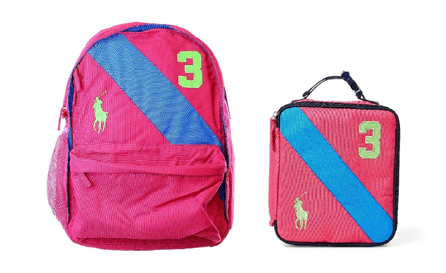 Get Quotations · Polo Ralph Lauren Girl s Banner Stripe Large Backpack and  Lunch Box Set 3bf156ea5f