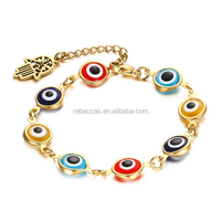 Rebaccas Fashion white and blue cubic zirconia 14k gold plated evil eye charm bracelet