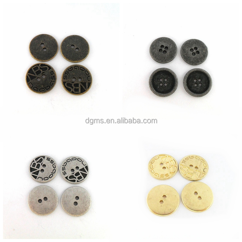 4Holes Classic Gun-Metal Color Metal Alloy Round Button For Garment Jacket, Sewing Button