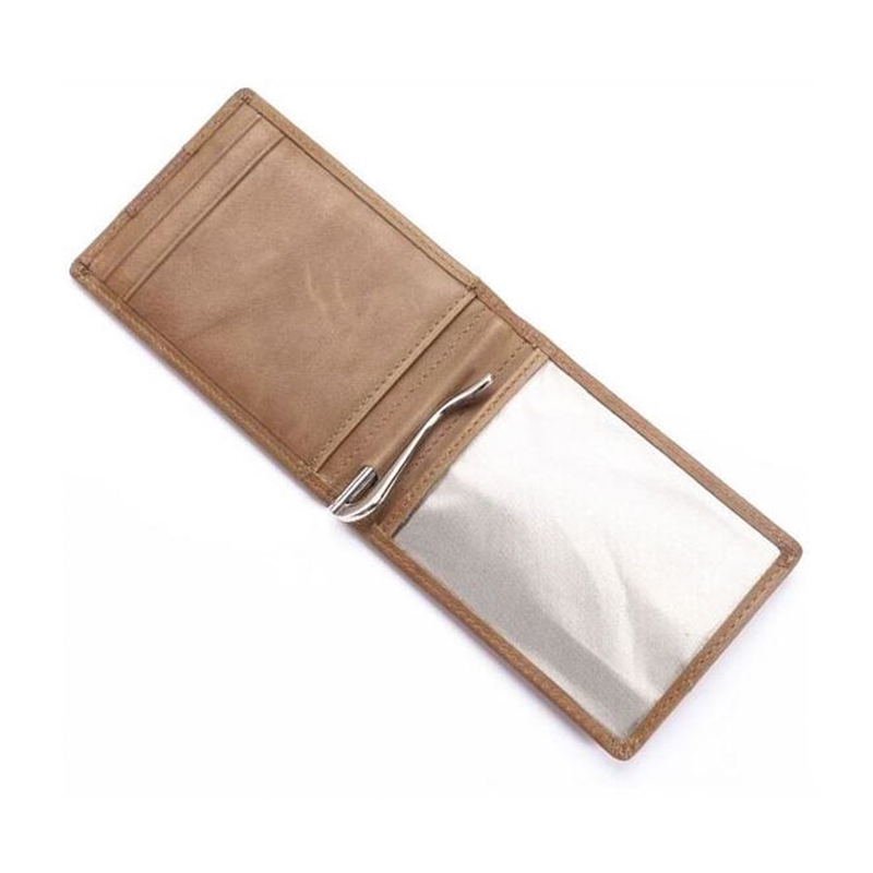 retail platform hot selling leather money clip wallet vintage style with card pull-tab
