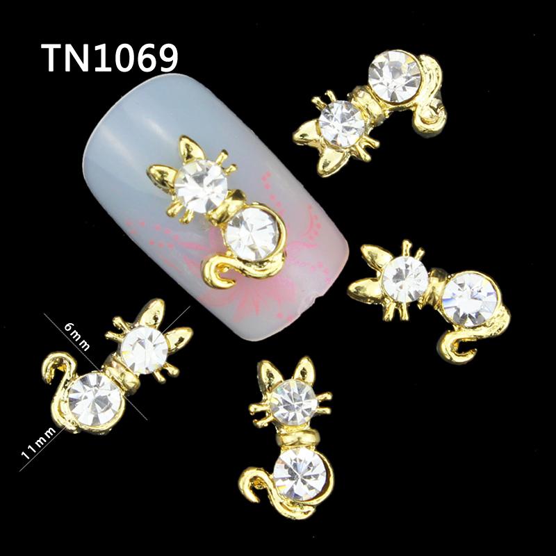 10 Pcs Glitter Gold Persian Cat 3D Rhinestones For Nail Art Decorations On Gel Polish DIY