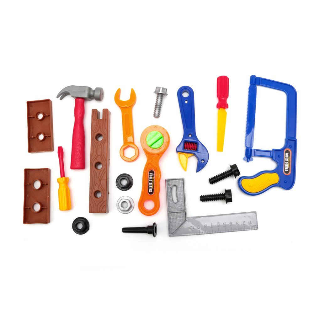 Delight eShop 19Pcs Kids Childrens Boys Toy Building Tool Kit Builder Construction Play Gift