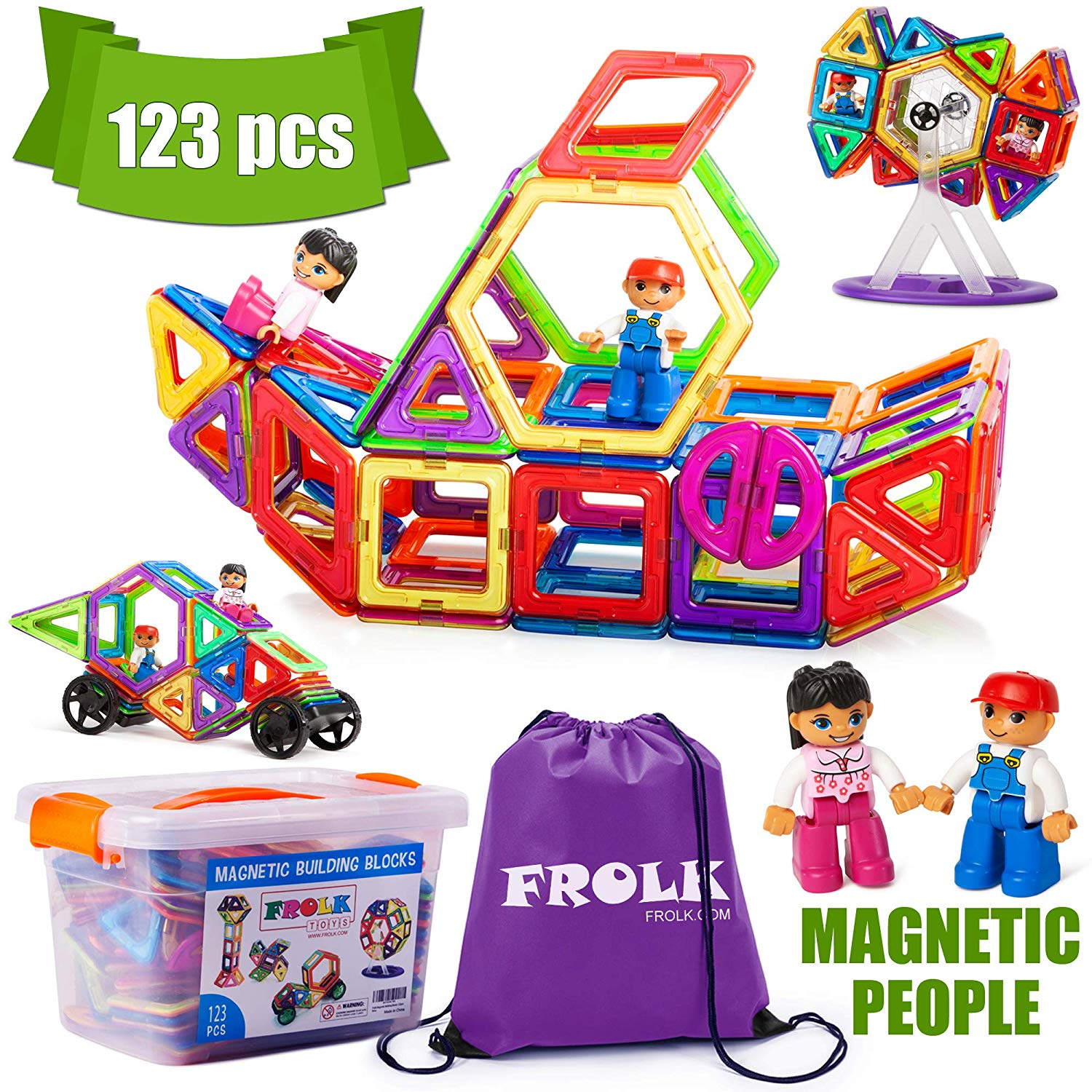 Frolk Magnetic Building Blocks Set , Unique Bonus - Magnetic Figures - 123 Piece :Colorful Tiles, Educational Cards, Wheels .Educational Toy for Girls and Boys. Premium Gift for Kids.