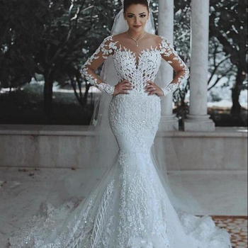 Factory direct European and American style wedding dress new sexy deep V-neck fishtail wedding lace wedding dress