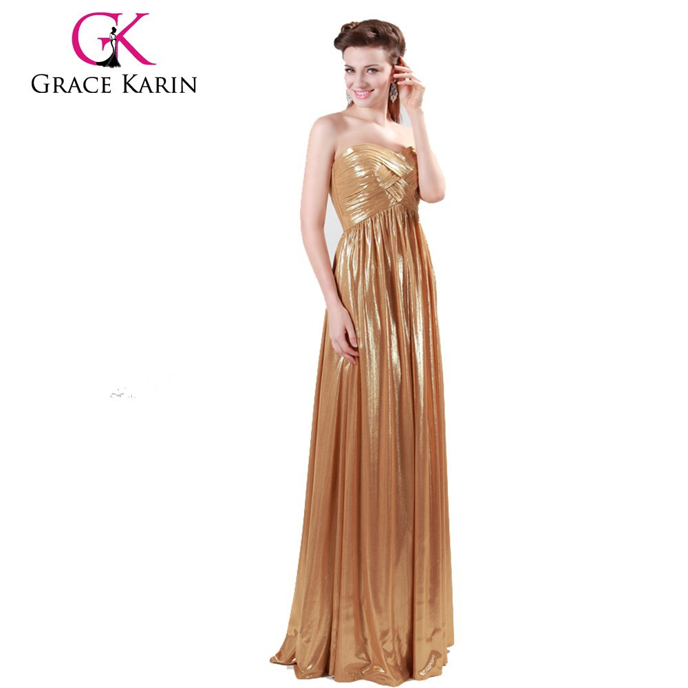 2015 Luxurious Golden Evening Prom Party Gowns Long Dresses CL4418