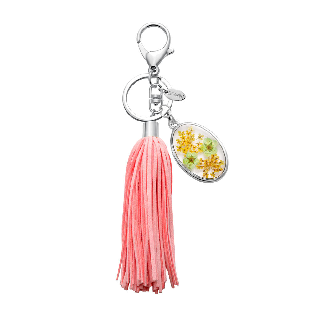 2016 trending products wholesale zinc alloy pink color tassel charms for bags