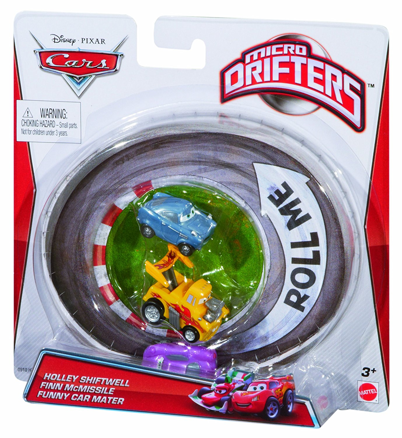 Disney/Pixar Cars, Micro Drifters Vehicles, Holley Shiftwell, Finn McMissile, and Funny Car Mater , 3-Pack