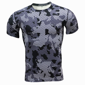 Latest design elastic compression mans short sleeve O-neck t shirt for sport wear
