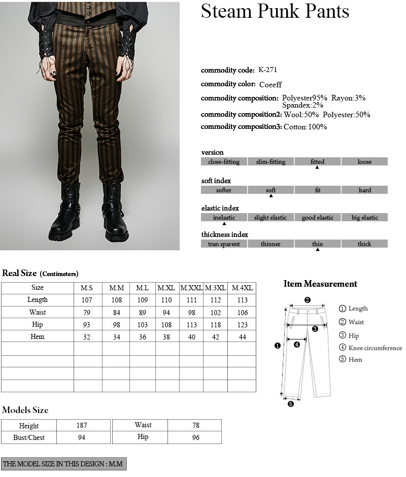 K-271PUNK RAVE High Grade Suit Woven Elegant Pants With Rugged Stripes