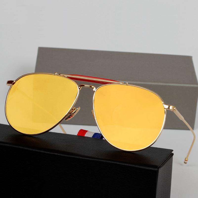 dfdd81639 2015 new Flat Mirror Pilot Sunglasses Men Royal Sunglasses Pilot sunglasses  Women Brand Designer Thom Browne