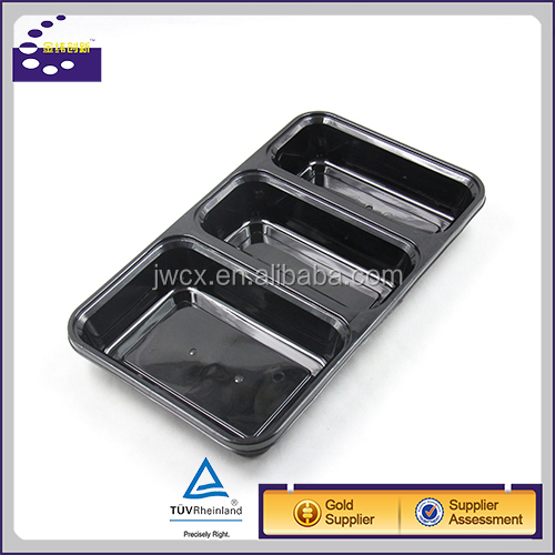 Black Disposable 3-compartment Microwave Oven Safe Food Container