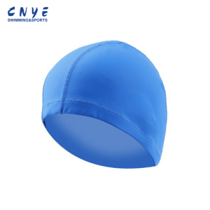 High Stretch blue cool Pu Swimming Caps designs bulk order from China factory