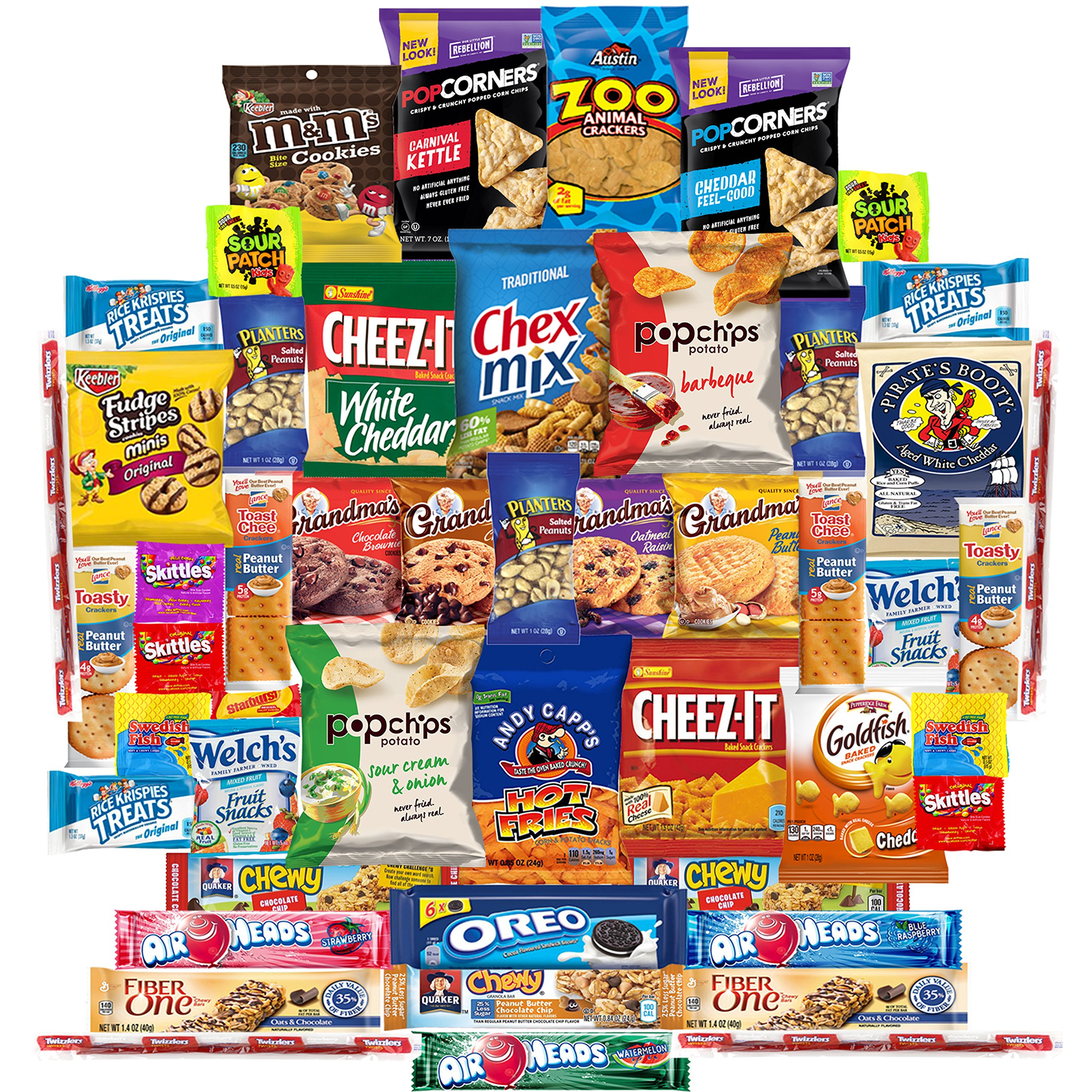 Munchies Care Package Chips Cookies & Candy Includes Goldfish, Oreos, Skittles, Sour Patch, m&m Cookie, Air Heads, Planters Peanuts, Rice Krispies & More (50 Count)