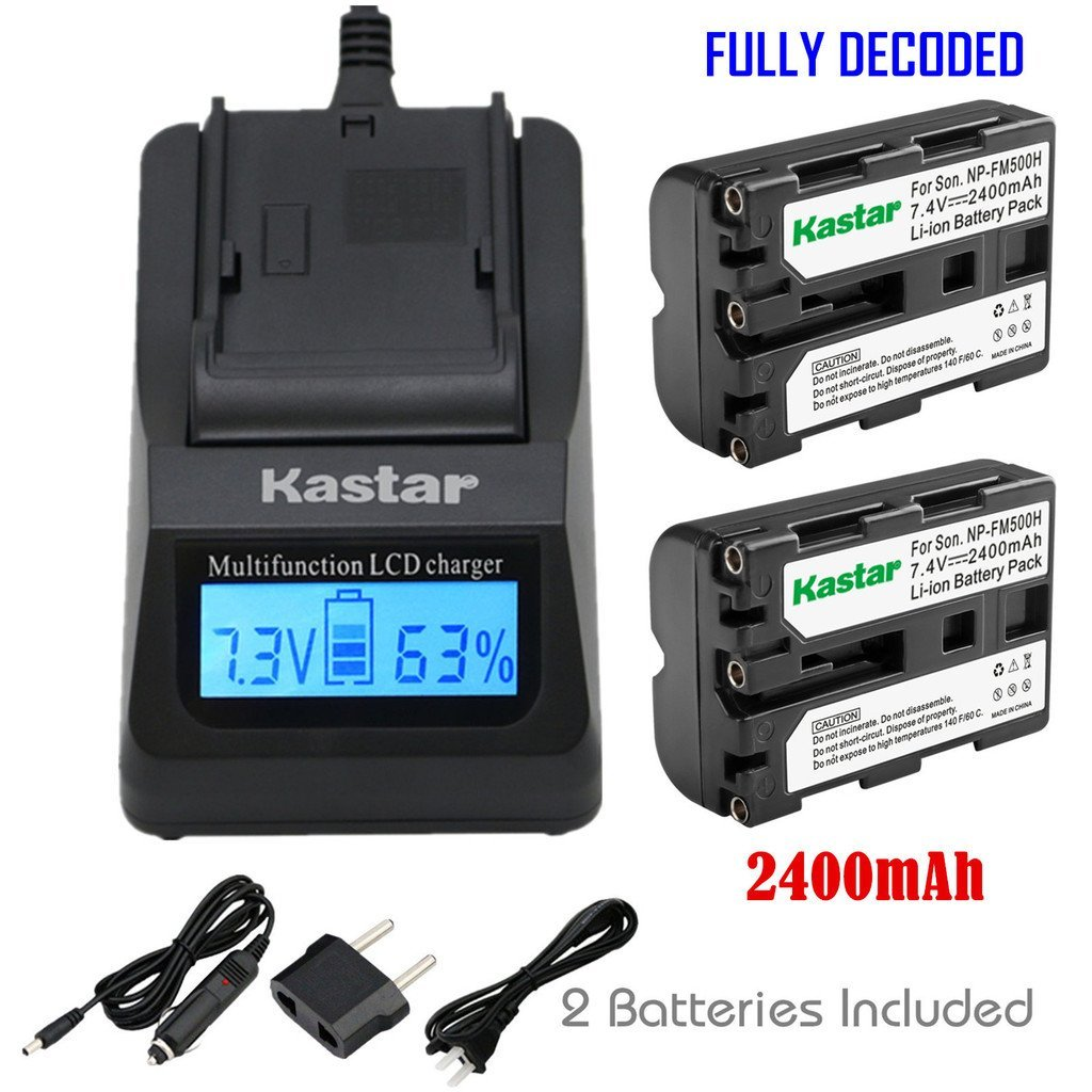 Kastar Fast Charger and NP-FM500H Battery (2-Pack) for Sony DSLR-A100/A200/A300/A350/A450/A500/A550/A560/A580/A700/A850/A900 Alpha SLT A57 A58 A65 A65V A77 A77V A77 II A77M2 A99 A99V CLM-V55 Cameras