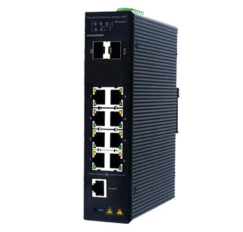Industrial managed 8 port 10/100/1000BASE-T Gigabit Ethernet Switch with 8 PoE+ 2 SFP ports