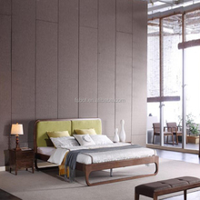 latest new design teak wood double bed with soft fabric headboard designs E3004