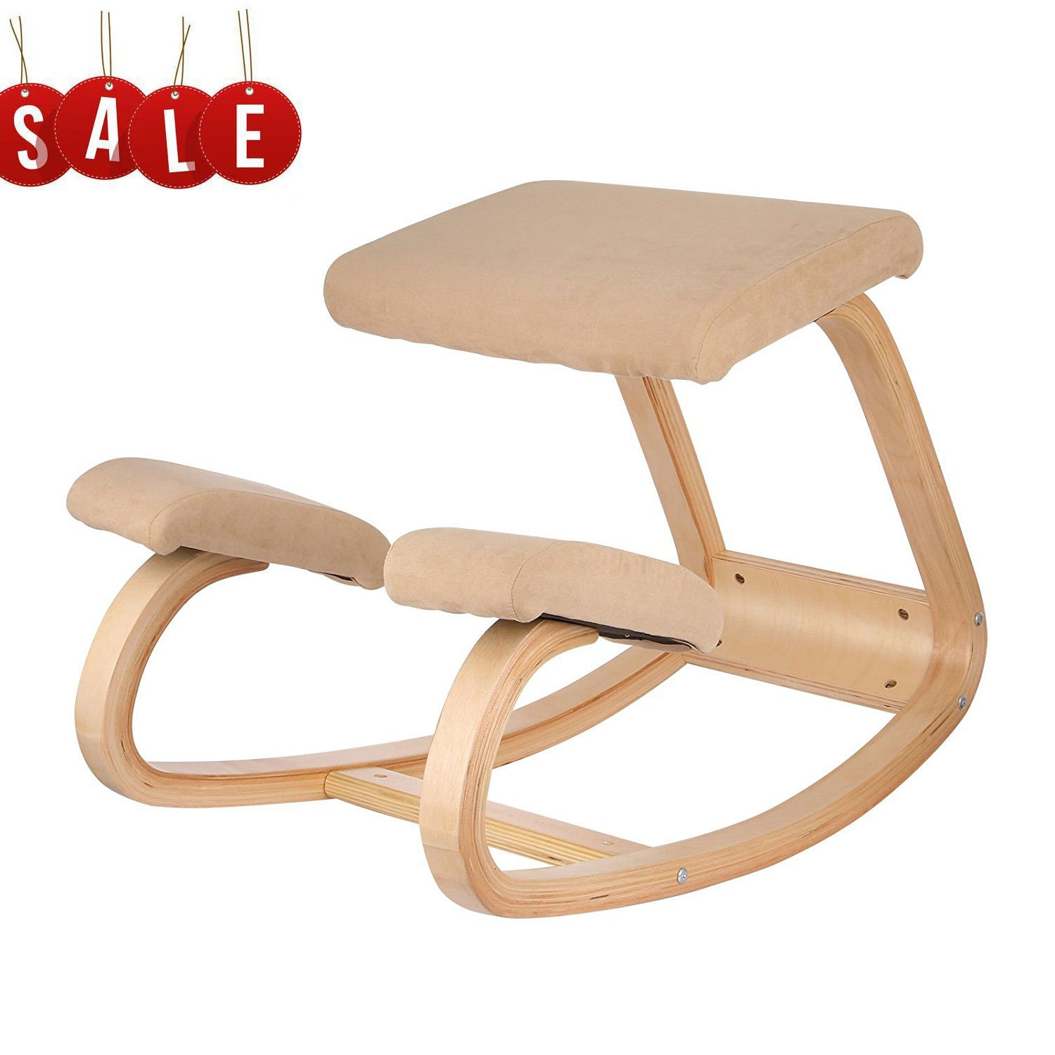 VEVOR Ergonomic Kneeling Chair Beech wood Ergonomic Kneeling Office Chair Perfect for Body Shaping and Relieving Stress (White)