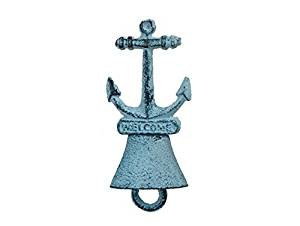 Handcrafted Model Ships K-257-dark-blue 5 in. Cast Iron Anchor Hand Bell - Rustic Dark Blue Whitewashed