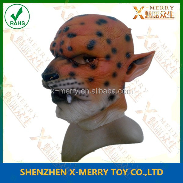 X-MERRY Latex Bengal Tiger Animal Mask High Quality Lion Cat Halloween Adult Fancy Dress Stag Party