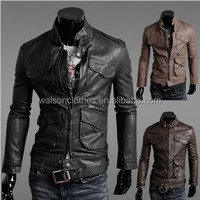 2016 Slim Fit Hooded Men's Black Motorcycle PU Leather Jacket