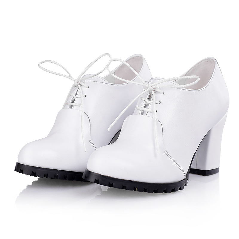 2015 Spring autumn women's round toe lace-up strappy high heels genuine leather casual female shoes pumps platform