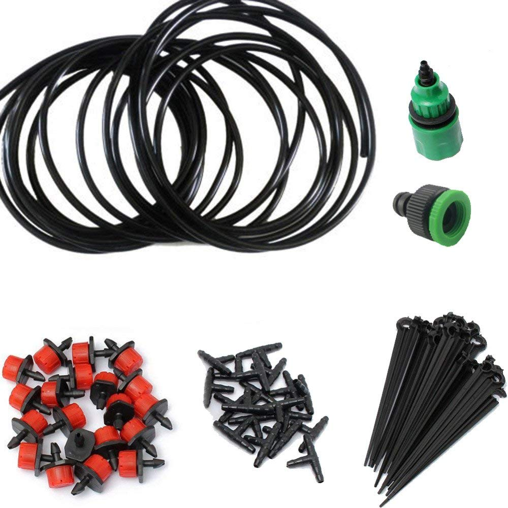 RSG Drip Irrigation System 25M/15M/5M Automatic Micro Garden Dripper Head Connector For Flowerspot Garden Plants Watering Kits