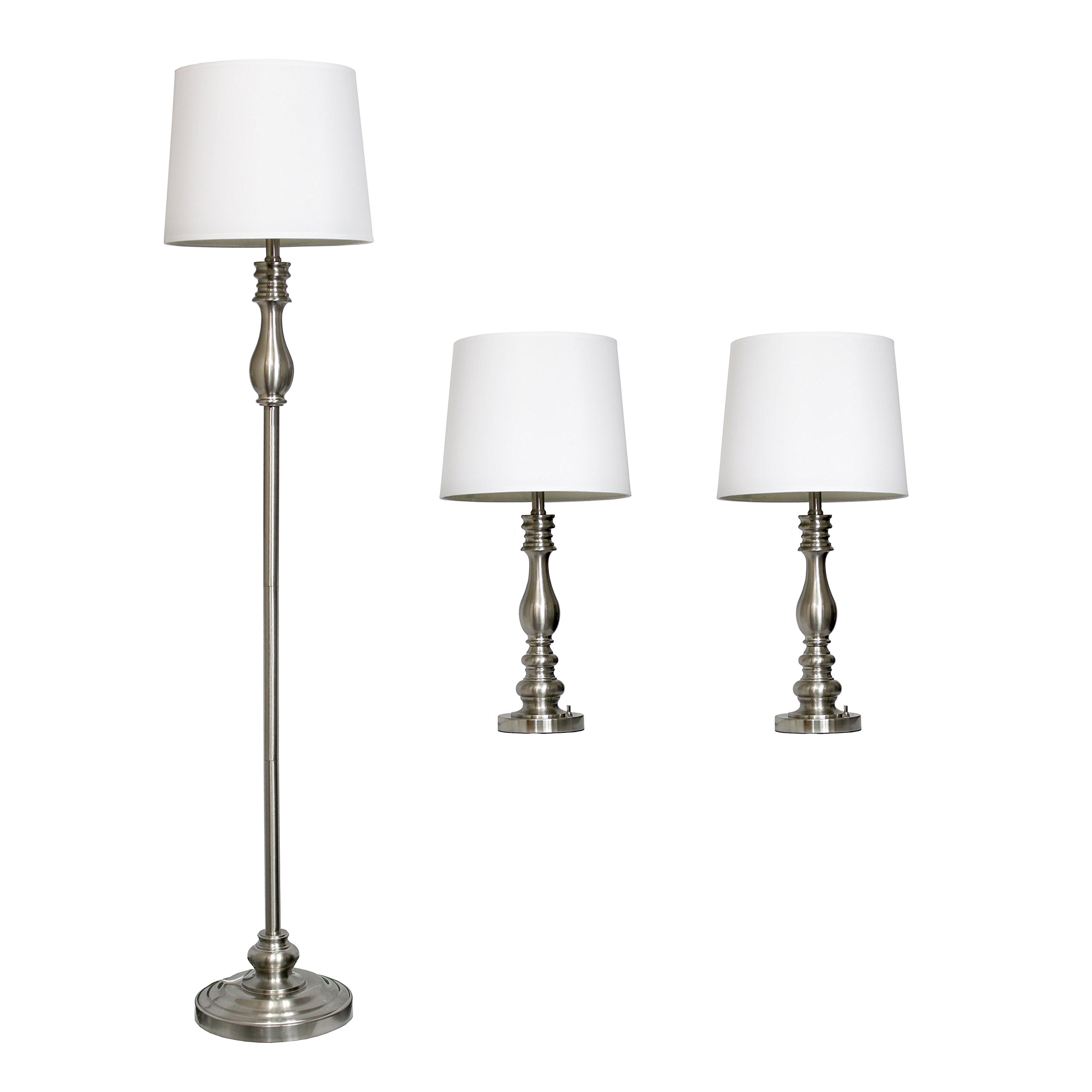 Elegant Designs LC1015-BST Three Pack Lamp Set (2 Table Lamps, 1 Floor Lamp), Brushed Steel