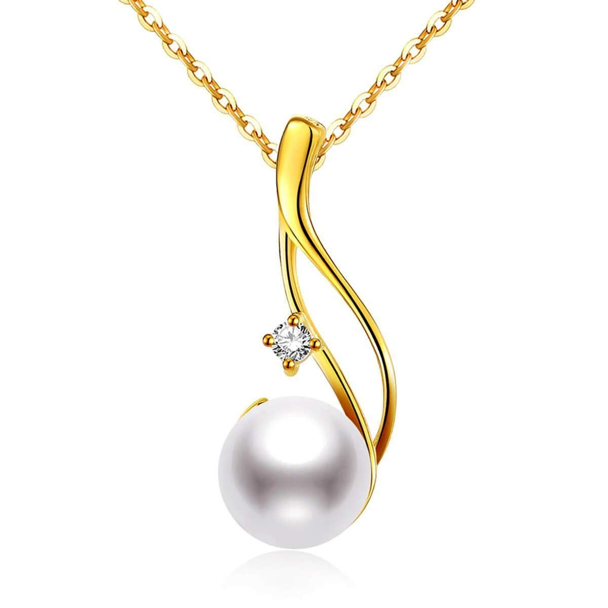 CHAULRI Premium 9-10mm Cultured Freshwater White Pearl Pendant Necklace 18K Gold Plated Sterling Silver gifts for Women for Her Wife Mom Daughter (Yellow, gold-plated-silver)