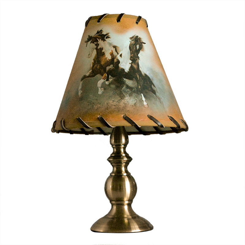 small drum blend colors horses printing faux cowhide braid table lamp shade