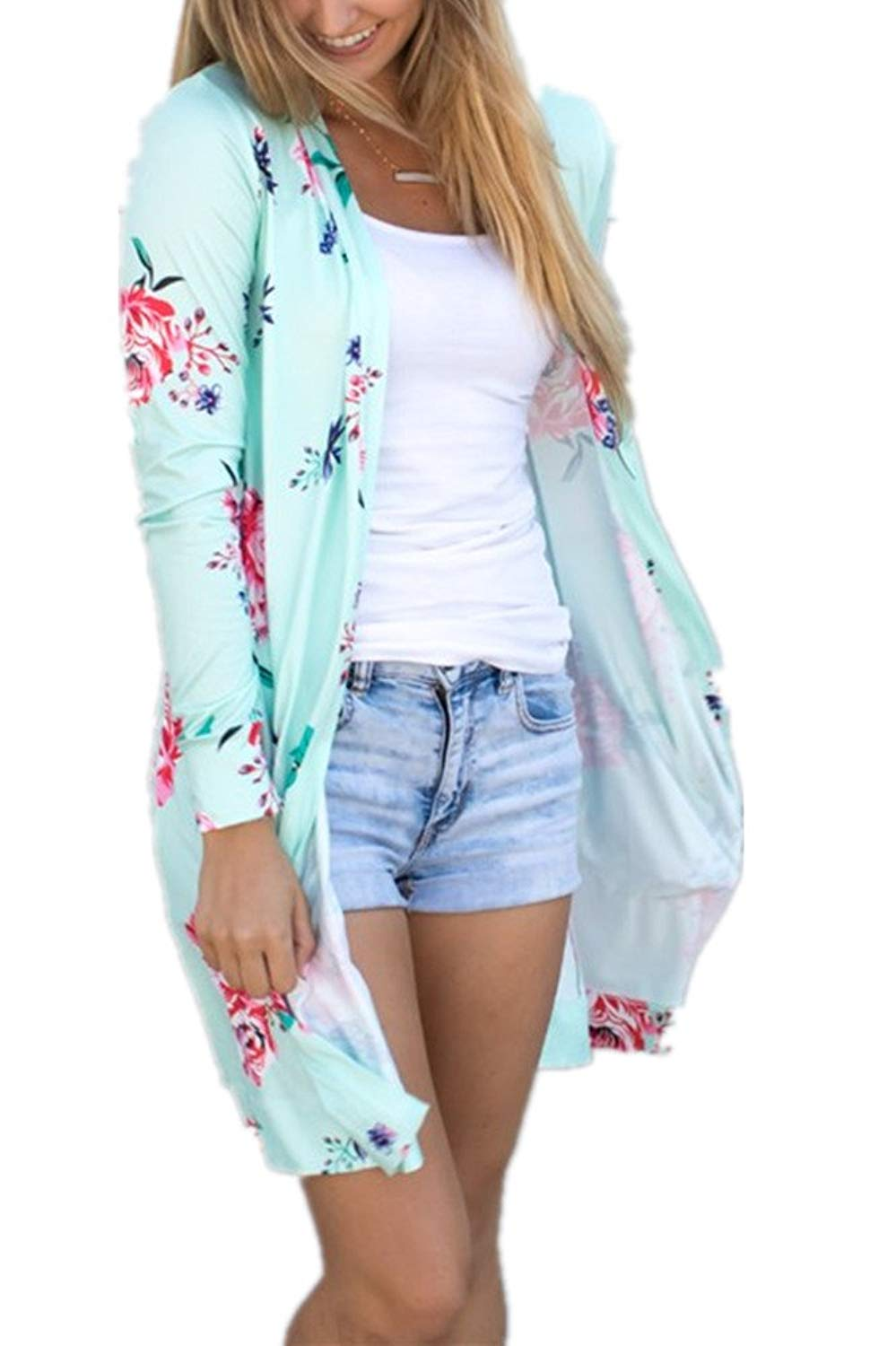 Pxmoda Womens Boho Long Sleeve Floral Print Cardigans Casual Kimono Wrap Coverup Tops Outwear