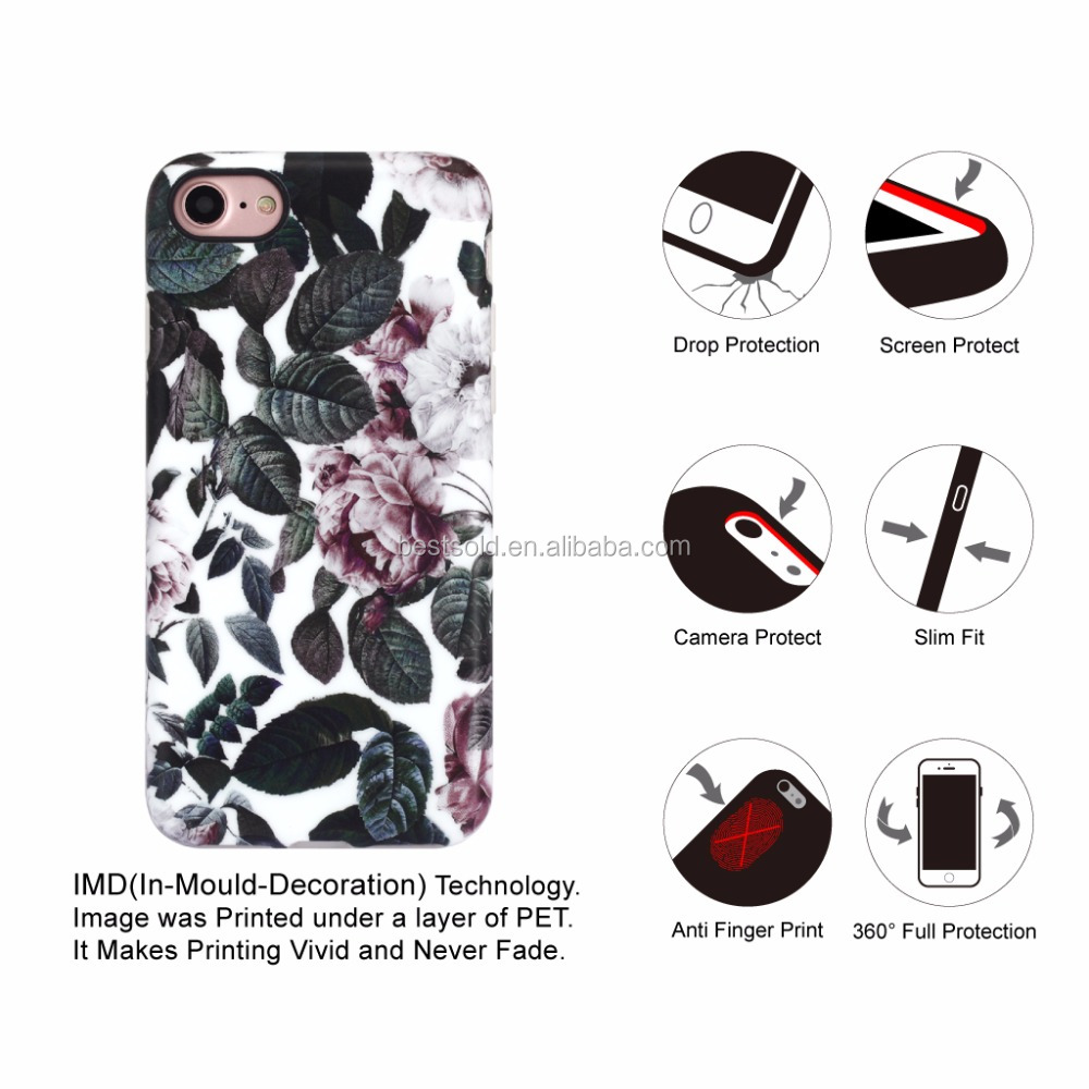 Bush design ink printed phone case for iphone 7; tpu phone case for iphone 7