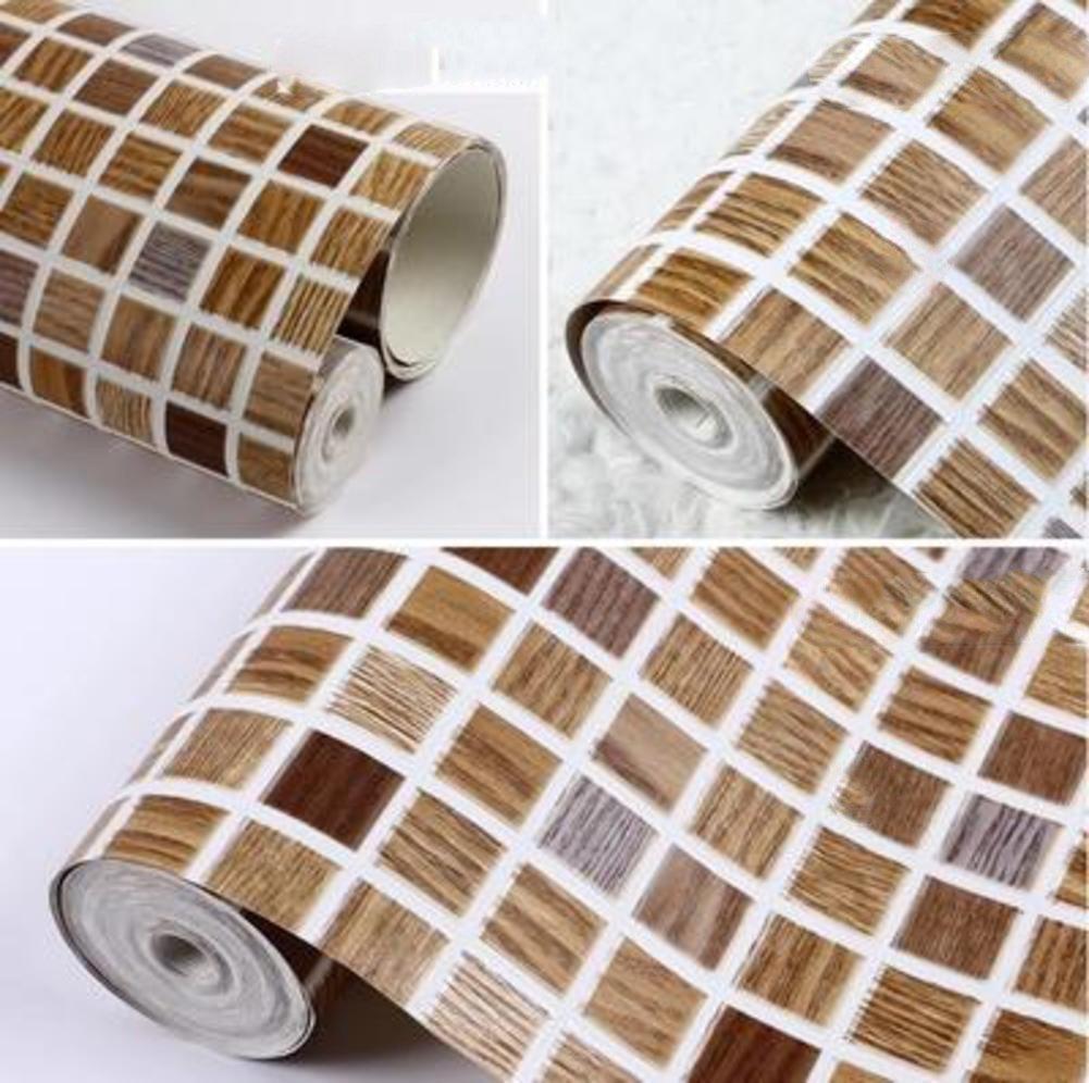 Modern minimalist pvcwallpaper, Three-dimensional deep embossed mosaic waterproof wallpaper Bathroom bathroom kitchen lattice wallpaper -D 53x1000cm(21x394inch)