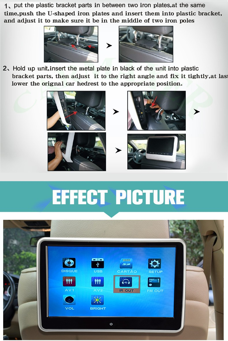 Car 10 inch lcd monitor with hdmi input