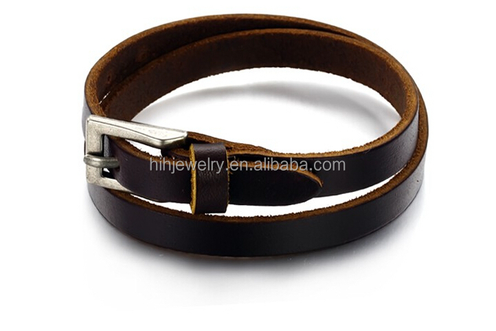 adjustable length leather wrap bracelet genuine cow leather bracelets for men 8.5mm genuine cow mens leather bracelet