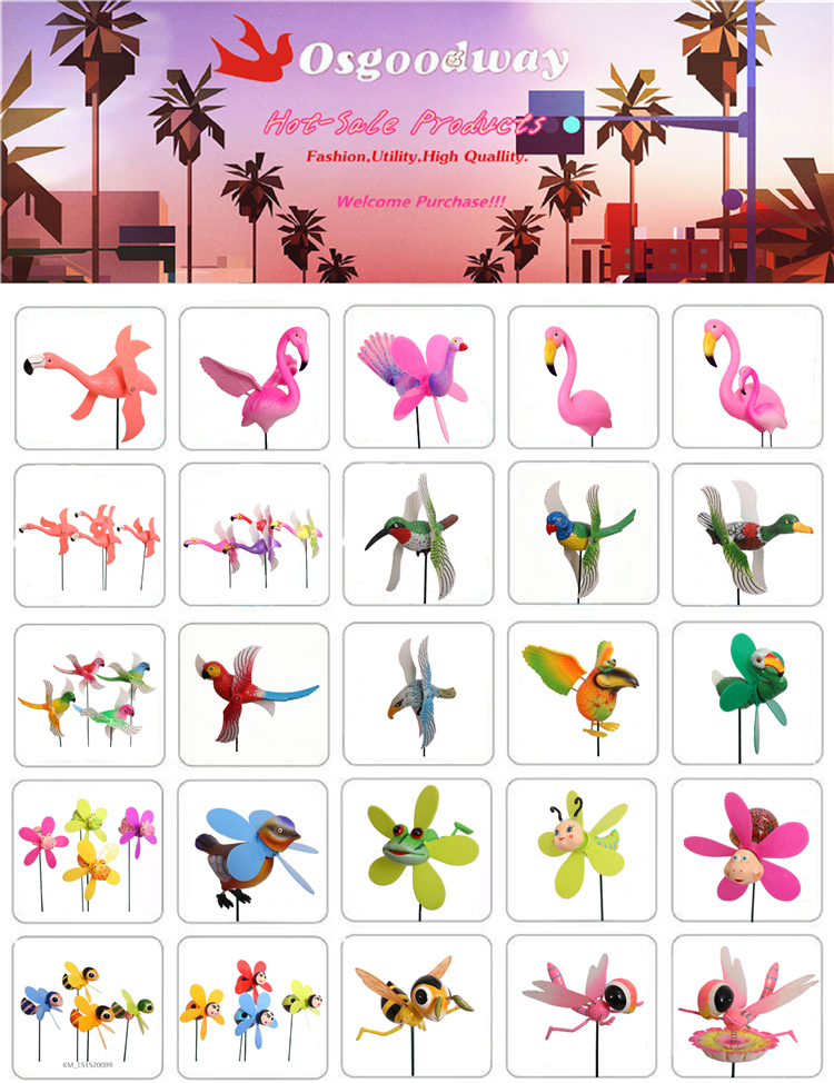Osgoodway Good Quantity Cheap Hot Sale Plastic Pink Garden wind fans flamingo for Decor