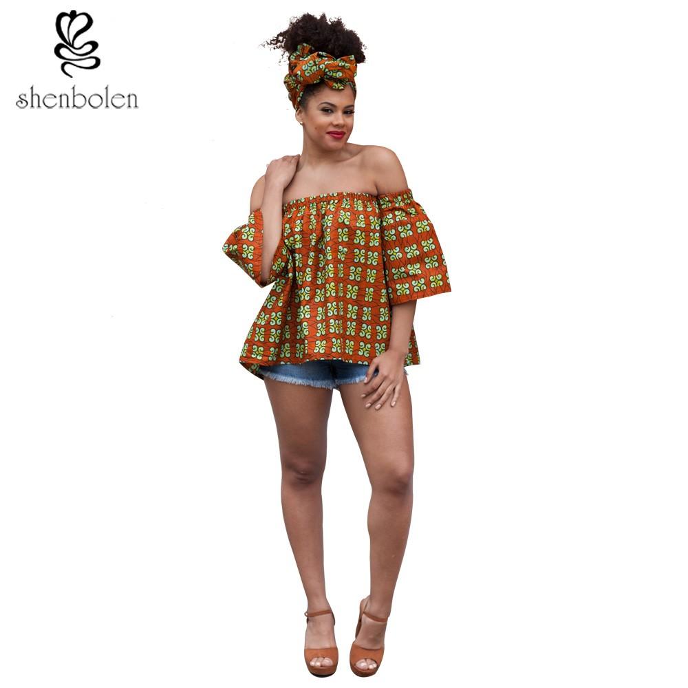 7e1b8c890 Atacado-2017 verão africano roupas tops para mulheres batik cera Ancara  impressão de algodão puro sexy barco top pescoço camisa solta plus size  S-5XL