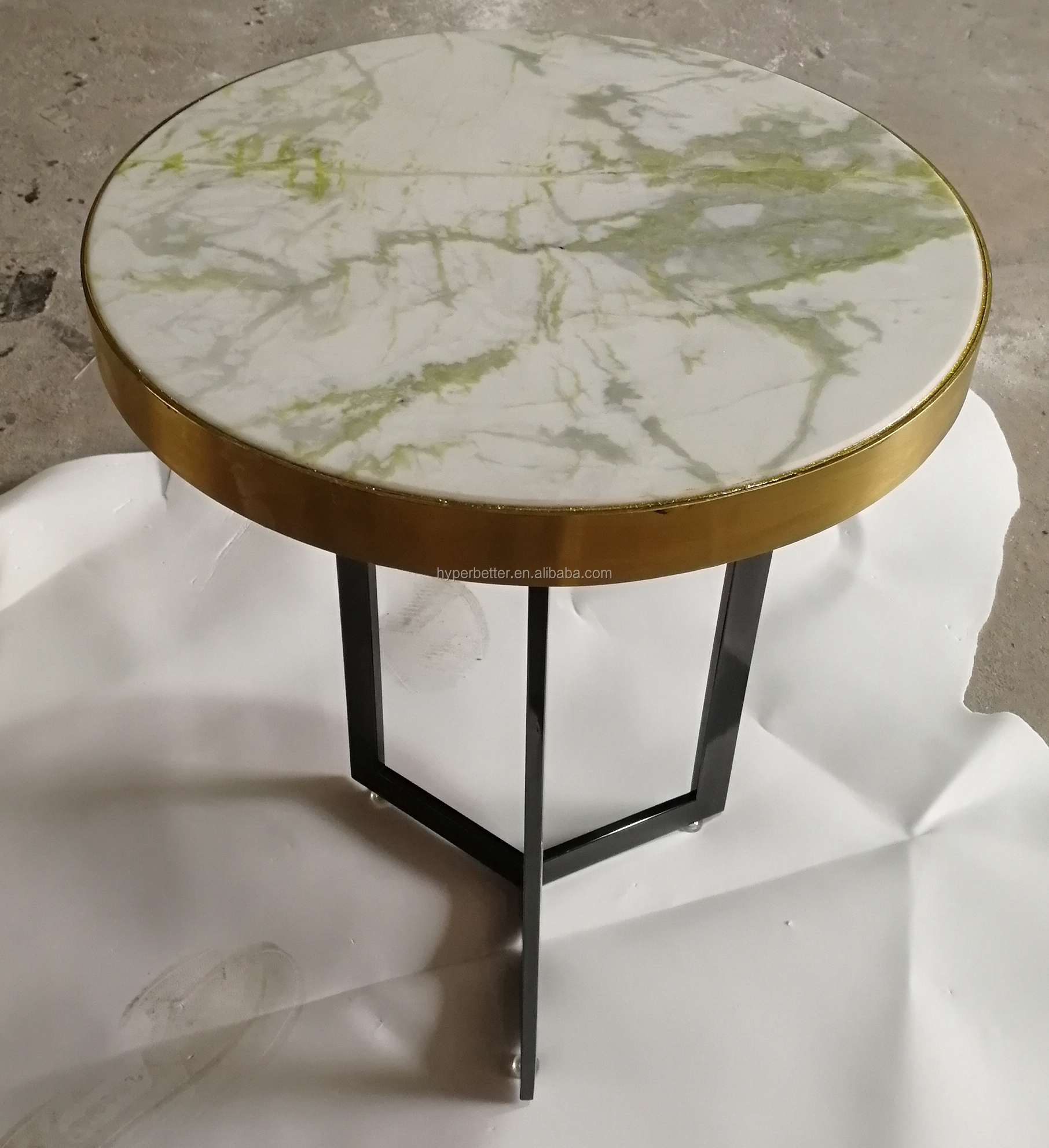 White green marble top sidetable gold trim