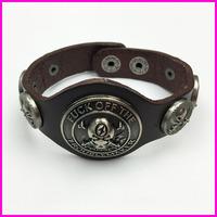 2017 New desgin wide buckle leather bracelet for men